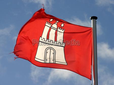hamburg flag in the wind