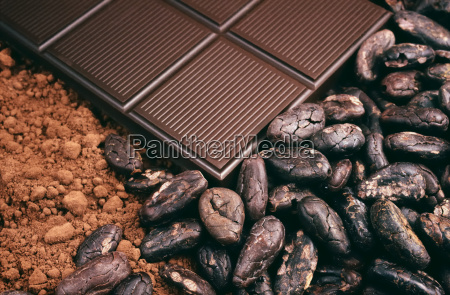 bar of chocolate cocoa beans