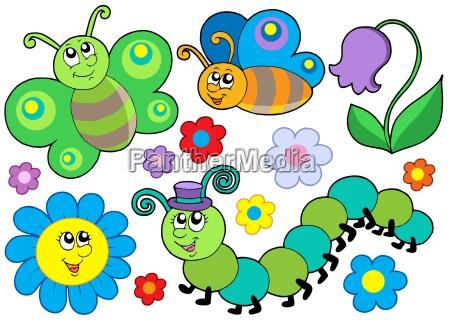 bug and flower set