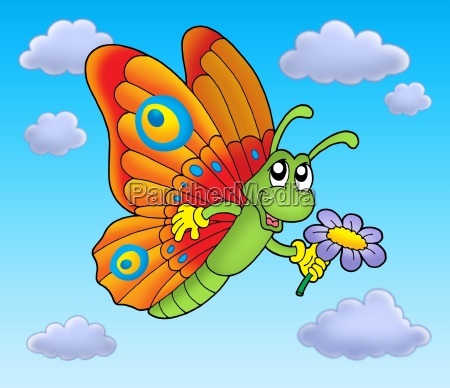 butterfly with flower on blue sky