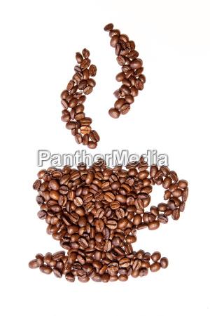 taca cafe vapor pictograma icone feijao