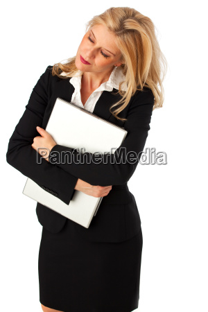businessfrau mit einem notebook isoliert auf