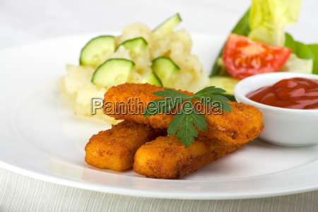 three, fish, fingers, and, potato, salad - 3211245