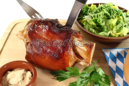 fresh pork with cutlery