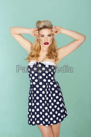 retro model in polka dot dress