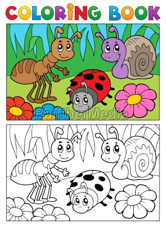 coloring book bugs theme image 5