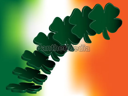 flying four leaf clovers over irish