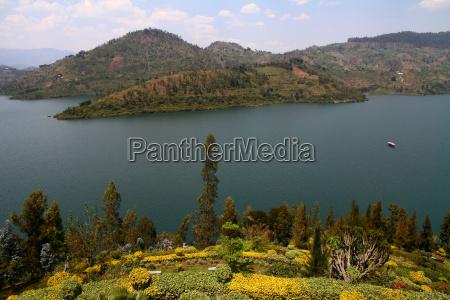 lake kivu and lush garden