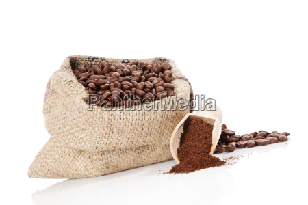 sack with coffee beans isolated on