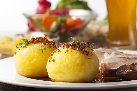 potato dumplings and bavarian roast pork