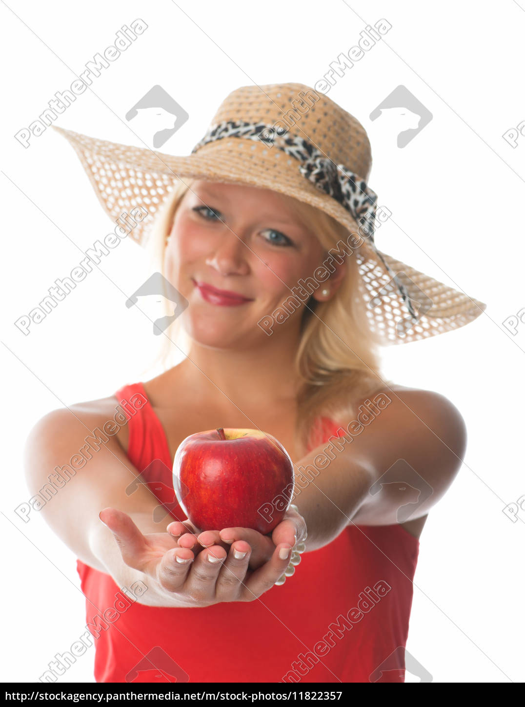 blond, woman, holding, a, red, apple - 11822357