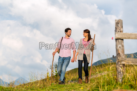 alps couple while out hiking