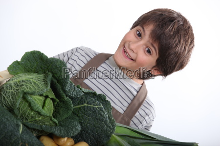 young boy with a selection of