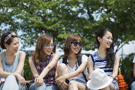 group of friends in the park