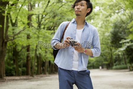a man in a kyoto park
