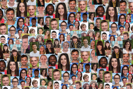 background collage young people large people