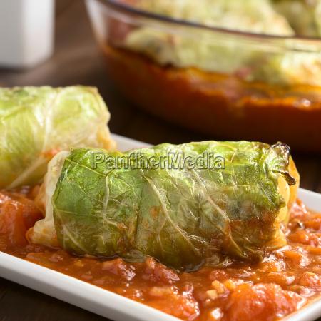 stuffed savoy cabbage on tomato sauce