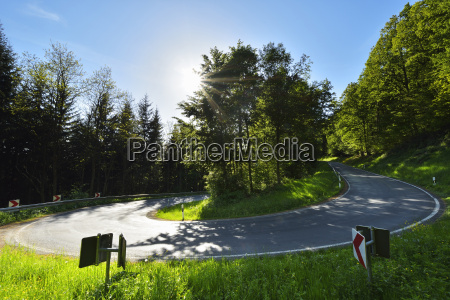 hairpin curve with sun in spring