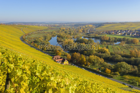 agricultural landscape with the mainschleife riverbend