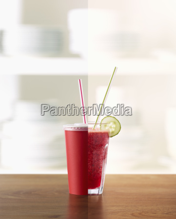half raspberry strawberry and blueberry smoothie