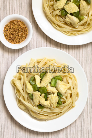 chicken in mustard sauce on fettuccine