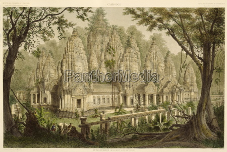 engraving of the bayon from exploration