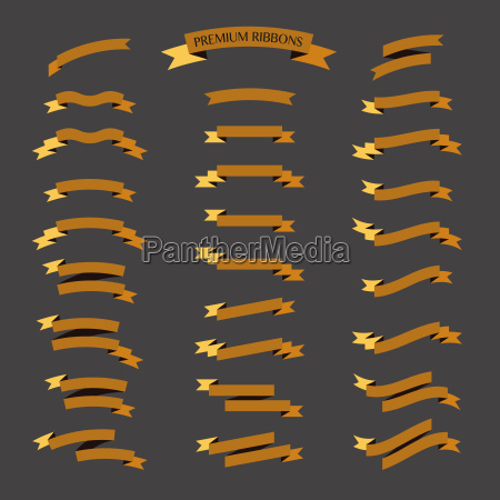 golden ribbons vector set on black