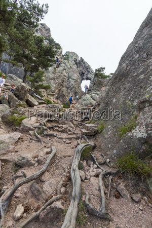 hikers proceed in the rocky canyon