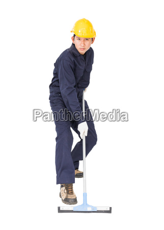 man hold squeegee window cleaner isolated