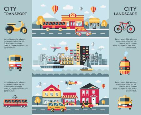 digital vector blue city landscape transport