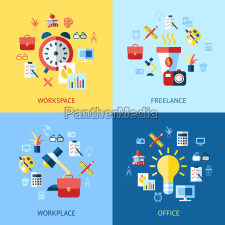 digital vector blue red work space